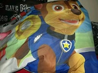 Paw patrol sheets, pillow case and comforter.  Dallas