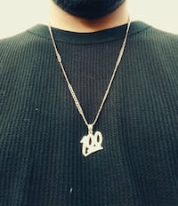 Solid gold 100 pendant and chain 10k Westminster, 80234