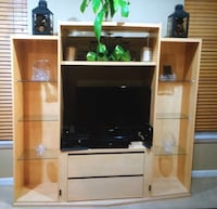 black flat screen TV with white wooden entertainment center Ashburn, 20147
