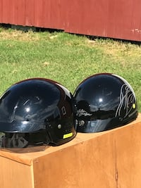 His and hers Harley Davidson helmets $30 for hers $40 for his. Hers size small his size xxl. His has pull down eye visor. Cash only Hollis Center, 04042