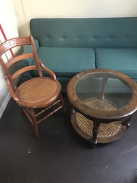 Antique Wicker Chair and Table