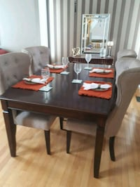 rectangular brown wooden table with four chairs dining set 3127 km