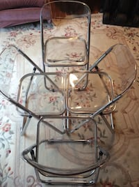 Vintage Mid Century 4 of Folding Chairs Italian Lucite Plastic Chrome Derwood, 20855