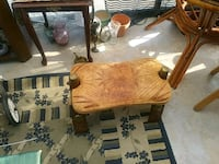Real leather stool with brass North Saanich, V8L 5S6