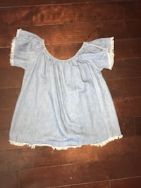 Blue off the shoulder top serious buyers pls