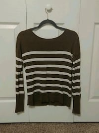 Hunter green and white striped scoop-neck sweater
