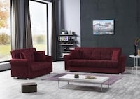 NEW SOFABED & LOVESEAT BED BURGUNDY