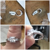 Charmed aroma princess cut 3 stone engagement ring