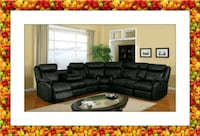 Cshape sectional black leather free shipping McLean