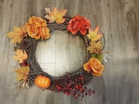orange and red floral wreath Edmonton