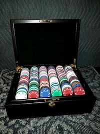 Poker Chips in Wood Box with Cards and Dice
