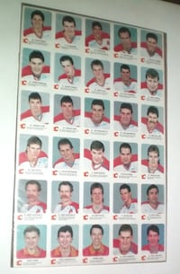 Calgary Flames Rare Uncut Sheet of 30 Cards 1987-1988 by Red Rooster Stores  London