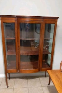 Antique Curved Glass Display/China Cabinet