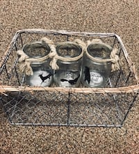 WIRE AND ROPE BASKET WITH THREE GLASS JARS INSIDE  Ancaster, L9G 2E8