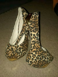 pair of leopard print peep toe heels District of Columbia