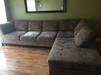 Brown suede sectional couch Toronto, M5A 4S7