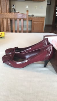 pair of red leather platform pumps Waukee, 50263