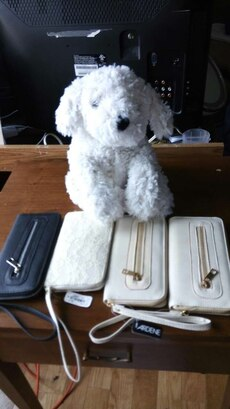 white dog plush toy with white and black leather w
