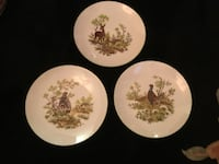 three white and brown floral ceramic plates Toronto, M2N 2B9