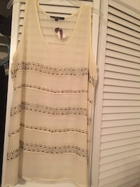 NWT Black Brand Size L Sheer Ivory Blouse With Silver Beads Myrtle Beach, 29577