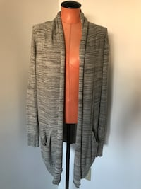 gray and white striped cardigan Surrey