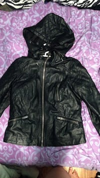 Quilted black leather zip-up hooded jacket