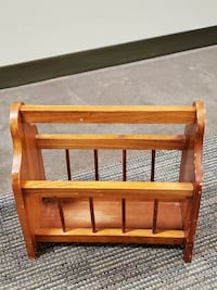 SMALL, POLISHED NATURAL WOOD MAGAZINE RACK  - firm price.