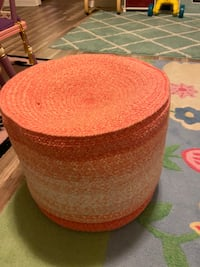 Coral and white sitting poof for kids