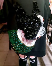 stunning boston terrier french bulldog h & m beaded and sequin sweatsh London, N5W 1X9