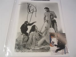 Cheetah The Chimp (AKA Jiggs) Hand Signed 8X10 Photo w/ Tarzan and Jane