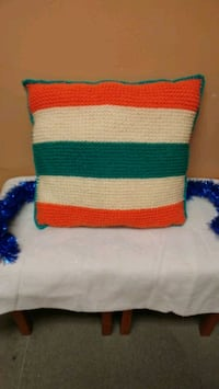 Handmade crocheted pillow