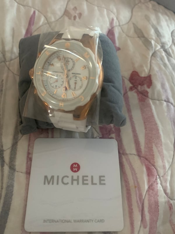 Michelle White and Rose Gold Watch 9948bba0-a4eb-4a6a-bf68-00305f20d4ab