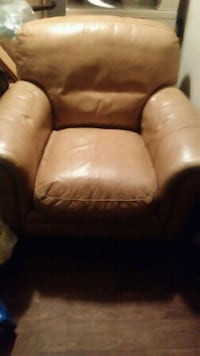 brown leather sofa chair with ottoman 364 mi