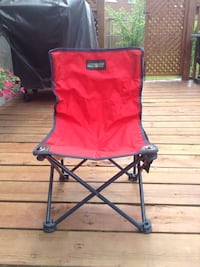 red and blue camping chair