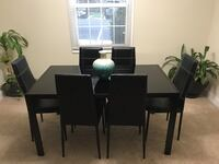rectangular black on black glass table with six chairs dining set Alexandria, 22311