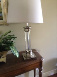 stainless steel base white shade table lamp North Saanich, V8L 3Z5
