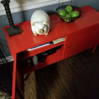 Red locker type console table