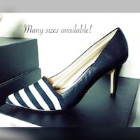 Black and white striped pump. MANY SIZES AVAILABLE!