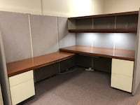 Office Desk Cubicle with Shelf, File Drawers, under cabinet lighting null