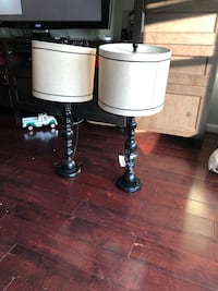 two black metal base white shade table lamps Beltsville, 20705