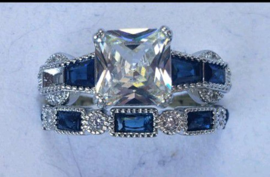 Sterling silver white and blue sapphire set 49d94fa1-8be2-40c1-b783-61bc2b554e22