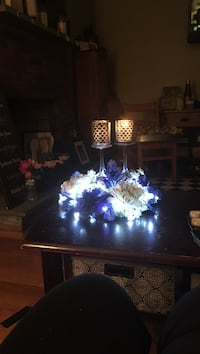 blue and white floral candle holders