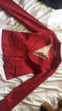 red leather zip-up jacket Los Angeles, 90008