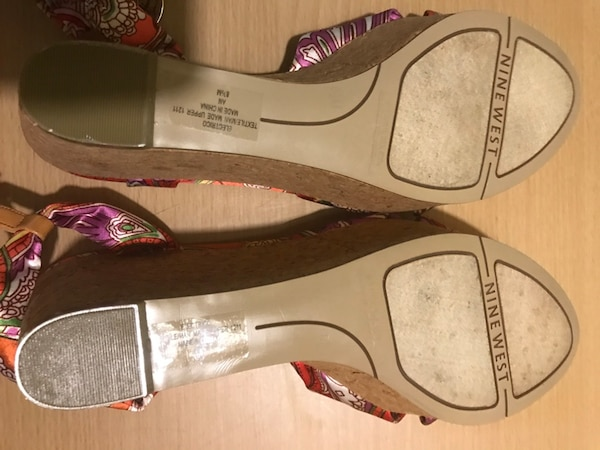NINE WEST MULTICOLORED WEDGE HEEL SANDAL SHOES SIZE 9B 298f6832-7128-4dc3-86fe-f5763515cad8
