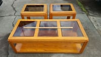 Set of Oak Coffee Table and End Tables