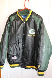 Green Bay Packers Leather Jacket w/ Aaron Rodgers Jersey