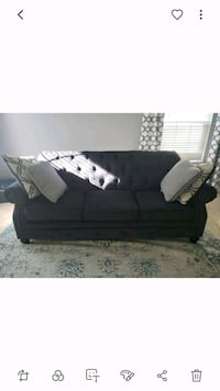 2 black suede couch with throw pillows Washington, 20024