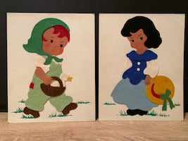 Vintage Handmade Felt Paper Dolls on Cardstock - REDUCED