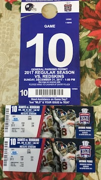 New York Giants and Redskins game tickets