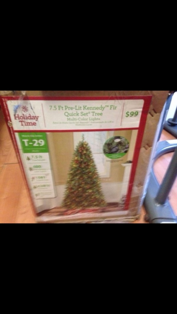 Used Holiday Time 7 5ft Pre Lit Kennedy Fir Quick Set Tree For Sale